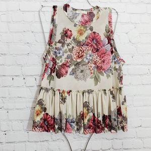 Ginget G Floral mesh cream sleeveless stretchy top